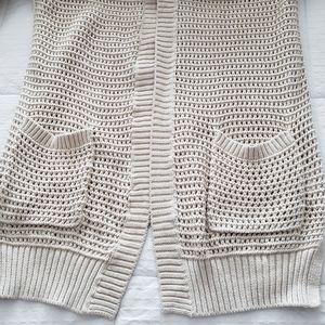 Gap crochet knit long cotton cardigan Cream Large